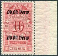 WW1 Germany Occupation Russia Baltic 1915 Deutsche Besetzung Litauen Kurland OB. OST VERW. 10 Mk. Revenue Stempelmarke - Occupation 1914-18
