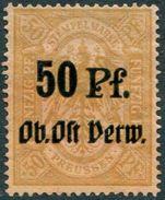 WW1 Germany Occupation Russia Baltic 1915 Deutsche Besetzung Litauen Kurland OB. OST VERW. 50 Pf. Revenue Stempelmarke - Occupation 1914-18