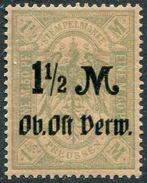 WW1 Germany Occupation Russia Baltic 1915 Deutsche Besetzung Litauen Kurland OB. OST VERW. 1 1/2 Mk Revenue Stempelmarke - Besetzungen 1914-18