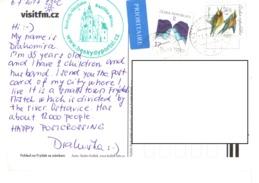 21B :Czech Republic Bird And Personality Stamp Used On Postcard - Czech Republic