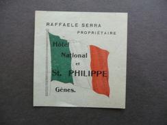 Etichetta Valigia Travel Label Suitcase Hotel National Genes Genova Anni Trenta - Vieux Papiers