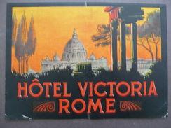 Etichetta Valigia Travel Label Suitcase Hotel Victoria Rome Roma Anni Trenta - Vieux Papiers