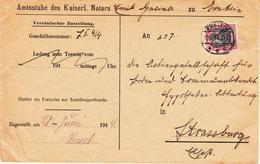 Env Vereinfachte Zustellung Affr Y&T 87  Obl ERSTEIN Du 20.6.14 Adressé à Strasbourg - Marcophilie (Lettres)