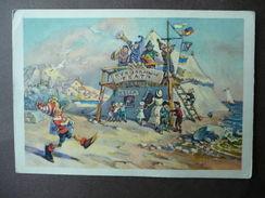 Pinocchio Burattini Mangiafuoco Cartolina Russa Disegnata 1957 Collodi - Cartes Postales