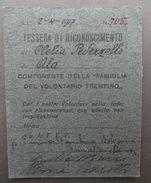 Tessera Di Riconoscimento Componente Famiglia Del Volontario Trentino 1917 N 705 - Vieux Papiers