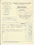 FACTURE De 1915.. Machines Et Ustensiles Pour Laiteries, CHEVALLIER, Rue Des Mariniers à PARIS XIVe (75) - France