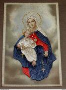 Marie Et Jésus - Carte Brodée - Broderie  - état Moyen Bien Lire Descriptif - Brodées