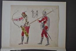 Disegno Acquerello Matita Uomini Arme Soldati Armigeri Carpaccio Venezia 1850 - Acquarelli