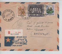 Belgich Congo Belge TP 313-315 Feurs-349 S/L.Avion Recommandée C.Butembo 1/12/1959 V.Canada C.d'arrivée 664 - Belgisch-Kongo