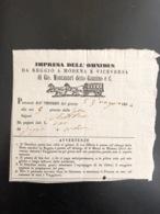 Biglietto Diligenza Omnibus Montanari Detto Gazzino Reggio Modena 1854 Regole - Vecchi Documenti