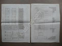 Disegni Architettura Case Operai Opificio Rossi Piovene Negrin Vicenza 1885-86 - Vieux Papiers