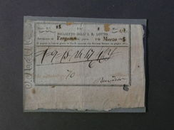 Biglietto I. R. Lotto Numeri Estrazione Bergamo 10 Marzo 1825 - Billetes De Lotería