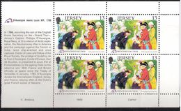 Jersey  1989 200th Anniversary Of The French Revolution. Philippe D'Auvergne With King Louis XVI Mi 485 X 4 MNH(**) - Jersey