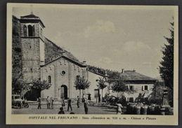 Cartolina Montagna Modena Ospitale Nel Frignano Chiesa E Piazza Animata 1940 - Modena