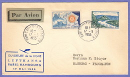 GER SC #720, 741 (Fr.) Air Mail Cover, Paris To Hamburg 05-17-1955 - Covers