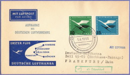 GER SC #C62-3 Air Mail First Flight Dusseldorf To Frankfort 04-01-1955 - Covers