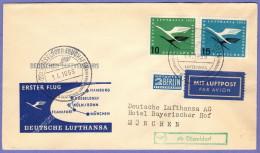 GER SC #C62-3, RA1 Air Mail First Flight Dusseldorf To Munich 04-01-1955 - Covers