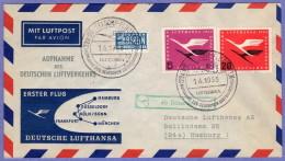 GER SC #C61, C64, RA1 Air Mail First Flight Dusseldorf To Hamburg 04-01-1955 - BRD