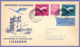 GER SC #C61, C63, 704 Air Mail Hamburg To Lisbon 10-01-1955 - BRD