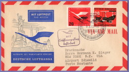 GER SC #C64, 728 Air Mail Frankfort To New York 11-06-1955 - [7] Federal Republic