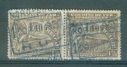 "BELGIE - OBP  TR 94 (paar/paire) - Cachet Bleu   ""NORD-BELGE - HUY 1"" -  (ref. 14.229) - Railway"