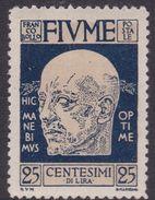 Fiume S117 1920 D'Annunzio 25c Dark Blue Mint Hinged - 8. WW I Occupation