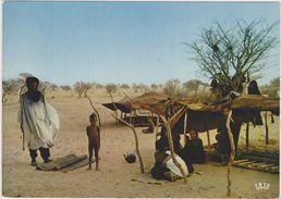 AFRIQUE,NIGER,CAMPING,CAMPEMENT TOUAREG,encampment,désert   ,famille  Nombreuse,chef De Famille,bourka - Niger