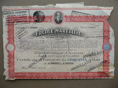 Certificato Azionario Ercole Marelli Azioni 50 Milano 1936 Timbri Capitale - Azioni & Titoli