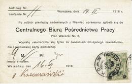 WARSZAWA - VARSOVIE - Poste Locale Mandat Carte 14 Juin 1916 Lettre Michel N° 10 - Expertisé - Deux Scannes - ....-1919 Übergangsregierung