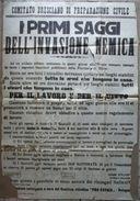 Manifesto Difesa Civile Brescia Lavoro Vitto Consegna Armi Viveri Guerra 1915-18 - Vecchi Documenti
