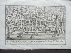 Tavola Geografica Città Fano Ducato Urbino Stato Ecclesiastico Salmon 1744 - Altri