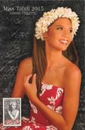 "Entier Postal De 2016 Sur CP Avec Illust. ""Miss Tahiti 2015 - Vaimiti Teiefitu"" - Postal Stationery"