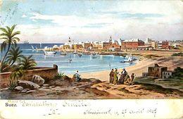 Cpa SUEZ Par F. Perlbera, Taxe 2 Cents Postage Due New York 1907 - Cachets, Timbre - Suez