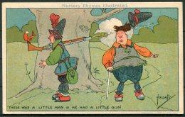 John Hassall, Nursery Rhymes Illustrated Comic Postcard 'There Was A Little Man & He Had A Little Gun' Davidson Brot - Illustrators & Photographers