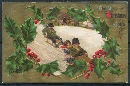 USA American Embossed Christmas Children Sledding Holly Postcard - Christmas