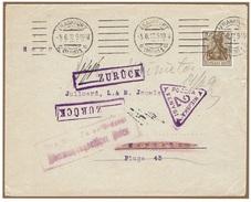 WARSZAWA - VARSOVIE - Poste Locale Lettre Censurée Frankfurt Am Main 5 Juin 1917 Fischer 8b - Retour à L'envoyeur - ....-1919 Übergangsregierung