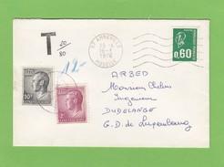 LETTRE  D'AMNEVILLE POUR DUDELANGE,TAXÉE A 12 FRANCS. - Portomarken