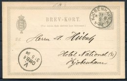 1894 Denmark 3 Ore Stationery Postcard, Brev-kort. Copenhagen National Hotel - Postal Stationery