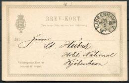 1894 Denmark 3 Ore Stationery Complete Reply Postcard, Brev-kort. Copenhagen National Hotel - Postal Stationery