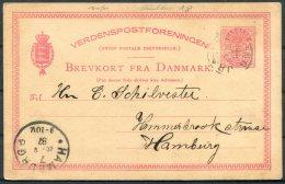 1887 Denmark 10 Ore Stationery Brevkort Postcard Kolding - Hamburg - Interi Postali