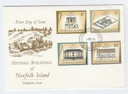 1974 NORFOLK ISLAND FDC Historic PRISON , ROYAL ENGINNERS BARRACKS,  STORE Cover Stamps Crime Religion Military - Norfolk Island