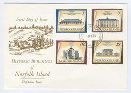 1975 NORFOLK ISLAND FDC Historic CONVICT BARRACKS,  MILITARY BARRACKS, Etc Cover Stamps Crime Military - Norfolk Island