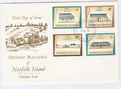 1974 NORFOLK ISLAND FDC Historic  MILITARY BARRACKS, GOVERNMENT HOUSE, STORE,  GUARD HOUSE Cover Stamps Military - Norfolk Island