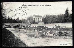 CPA ANCIENNE FRANCE- CHAUMES-EN-BRIE (77)- LA RIVIERE ET LE PONT- LAVEUSE DE LINGE EN GROS PLAN- LINGE ÉTENDU- - France