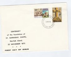 1975 NORFOLK ISLAND FDC St Barnabas CHAPEL Stamps  Cover Religion Church - Norfolk Island