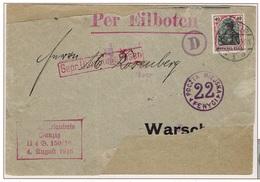 WARSZAWA - VARSOVIE - Poste Locale Lettre Commerciale Censurée Dantzig 3 Juin 1917 Fischer 11b RARE - ....-1919 Provisional Government