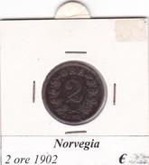 NORVEGIA   2 ORE   ANNO 1902  COME DA FOTO - Norvegia