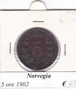 NORVEGIA   5 ORE   ANNO 1902  COME DA FOTO - Norvegia