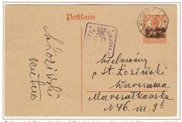 WARSZAWA - VARSOVIE - Poste Locale Entier Postal 16 Septembre 1918 Fischer 17b Rare - ....-1919 Übergangsregierung