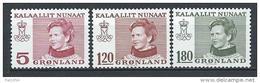 Groënland 1978 N°94/96 Neufs Reine Margrethe - Greenland